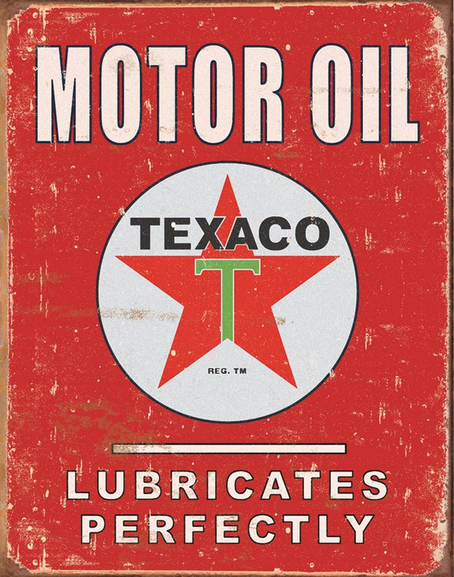 Tin Sign 1444 Texaco - Lubricates Perfectly