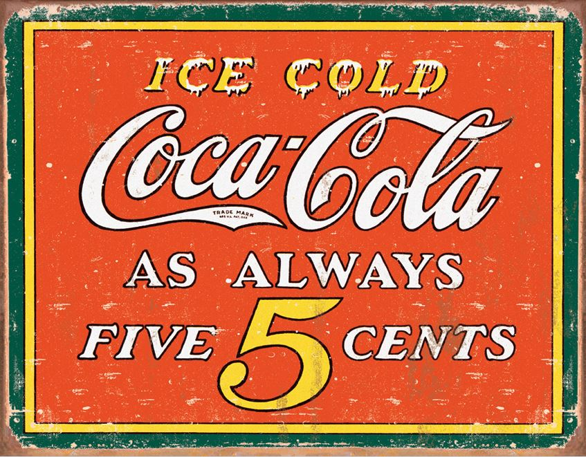 Tin Sign 1471 Coke - Always Five Cents
