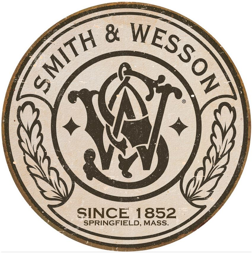 Tin Sign 1608 S&W Logo - Round