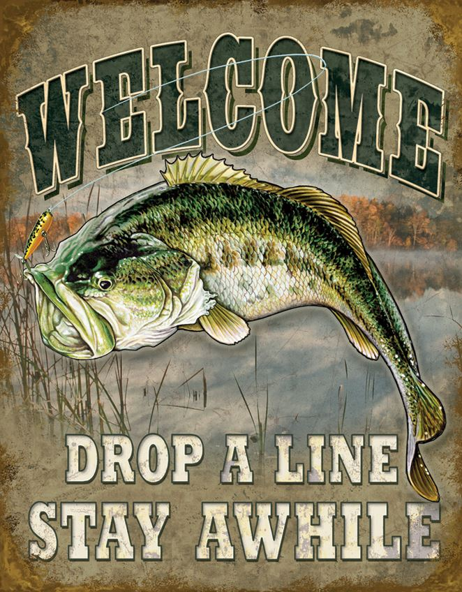 Tin Sign 1669 Welcome Bass Fishing