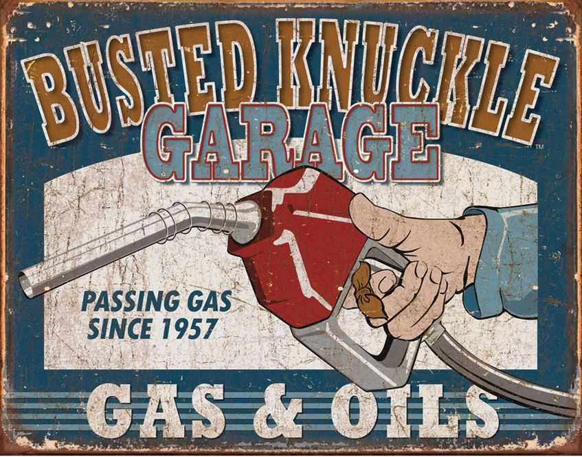Tin Sign 1738 Busted Knuckle Garage