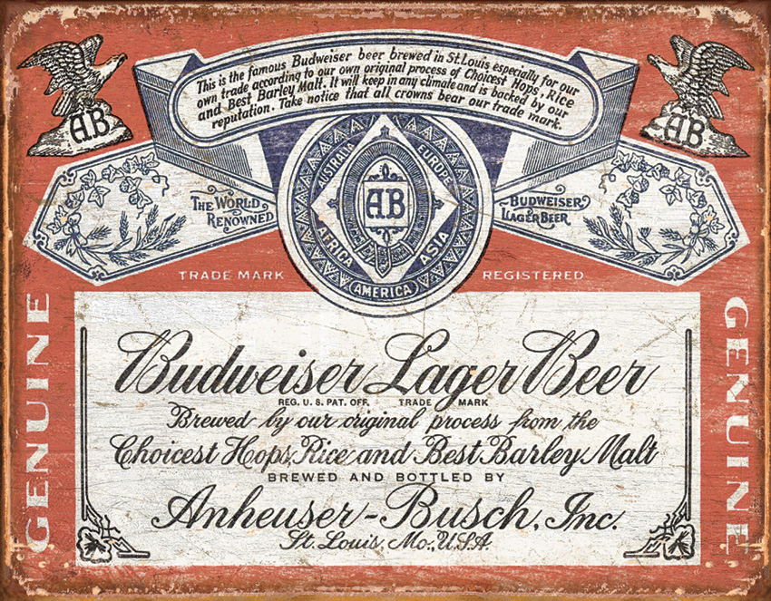 Tin Sign 1751 Budweiser - Weathered Label