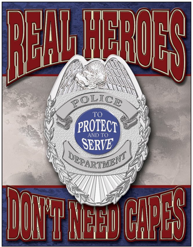 Tin Sign 1780 Real Heroes - Police