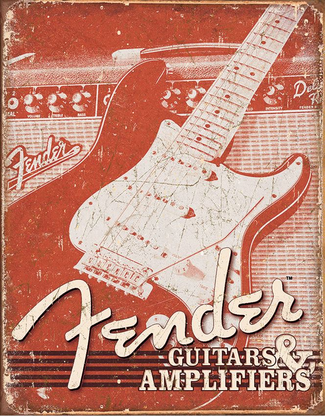 Tin Sign Fender - Weathered