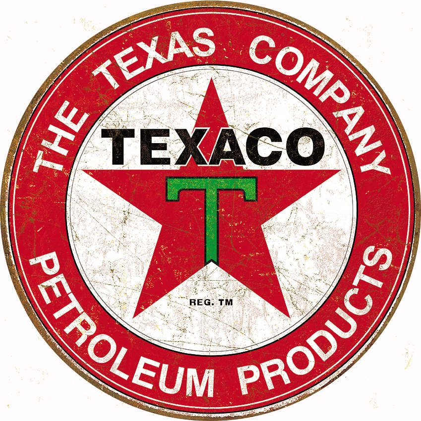 Tin Sign 1926 The Texaco Company - Round