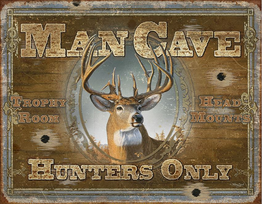 Tin Sign 1935 Man Cave - Hunters Only