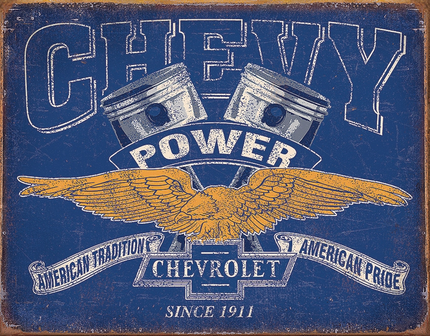 Tin Sign 2199 Chevy Power Vintage