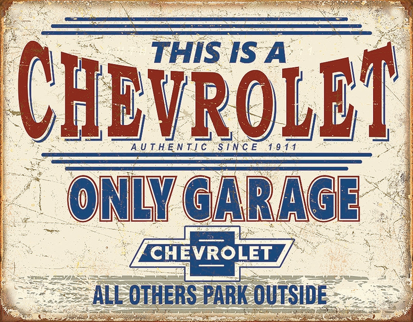 Tin Sign 2200 Chevy Only Garage Vintage