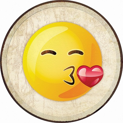 Tin Sign 2270 Round Emoji - Kiss