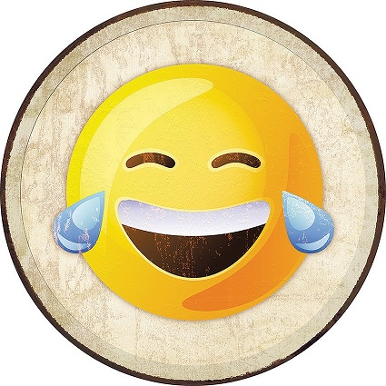 Tin Sign 2271 Round Emoji - Laugh