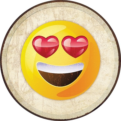 Tin Sign 2272 Round Emoji - Love Eyes