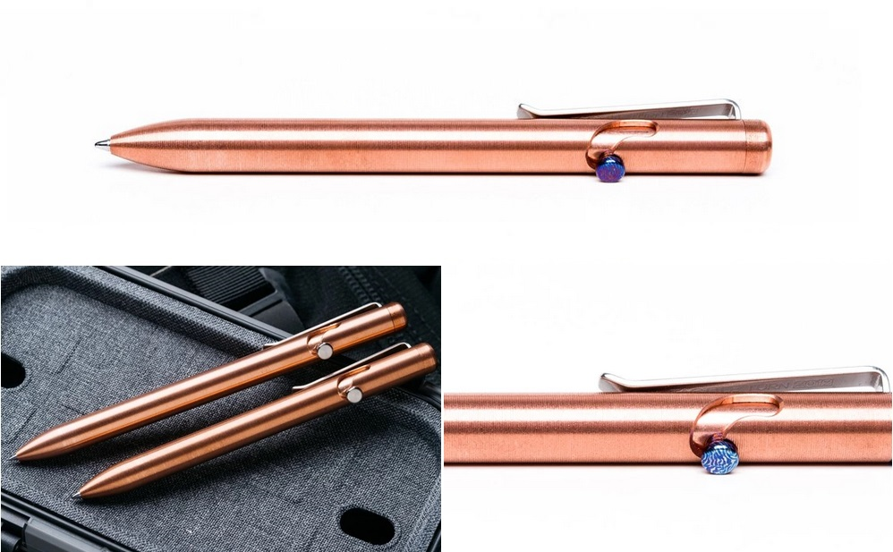 Tactile Turn Bolt Action Pen Short - Copper w/Timascus Bolt