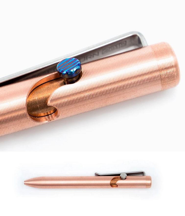 Tactile Turn Bolt Action Pen Mini - Copper w/Timascus Bolt
