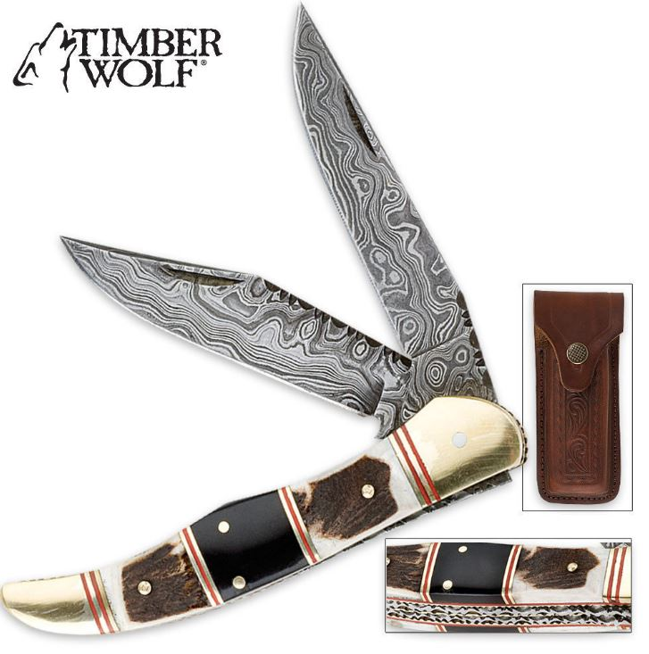 Timber Wolf Filework Hunter Damascus Folding Knife