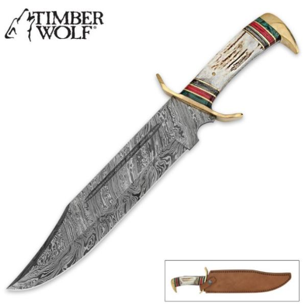 Timber Wolf Stag with Damascus Blade Bowie Knife