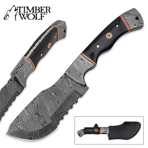 Timber Wolf Damascus Steel Hunting Cleaver, Micarta Handle