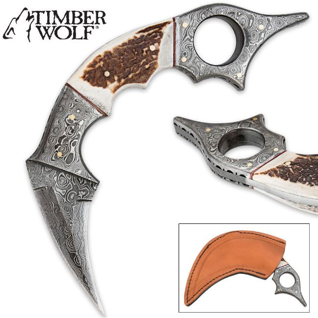 Timber Wolf Karambit Damascus Steel w/Stag Horn