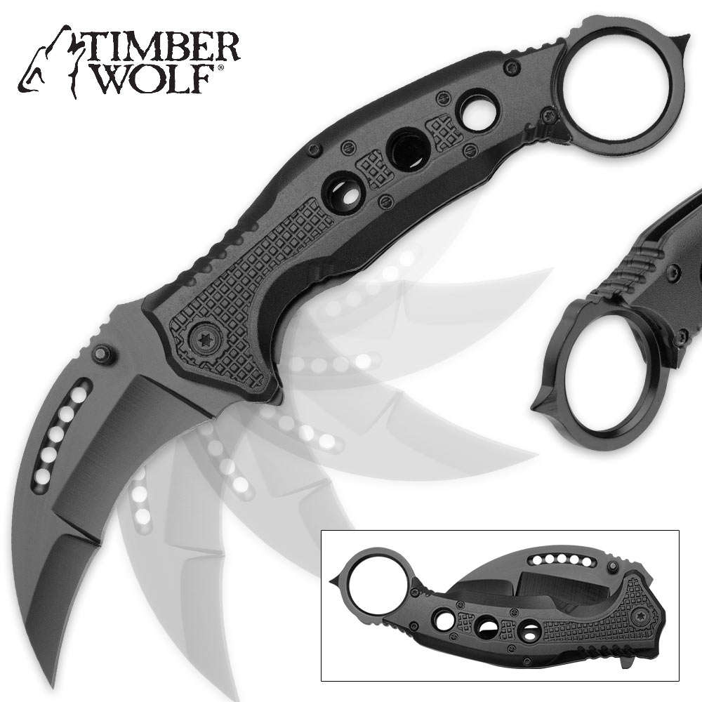 Timber Wolf Black Karambit Folder, Assisted Open