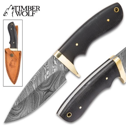 Timber Wolf Bear River Damascus Skinner w/ Leather Sheath TW554