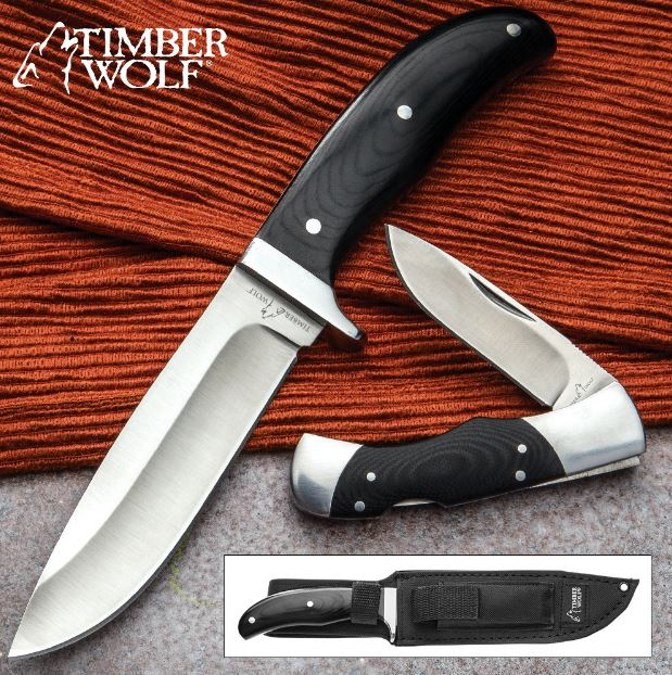 Timber Wolf 2 Piece Knife Set w/Sheath TW578