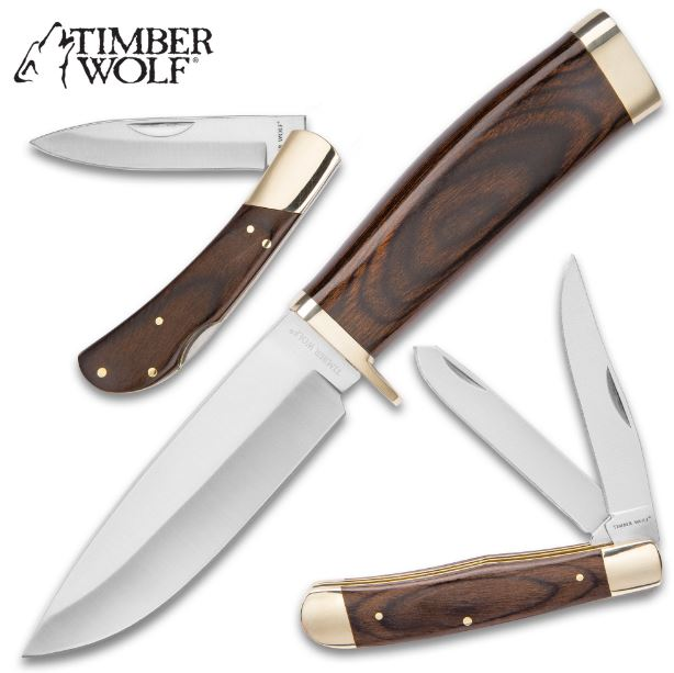 Timber Wolf 3 Pack Knife Set w/Wood Handles TW678