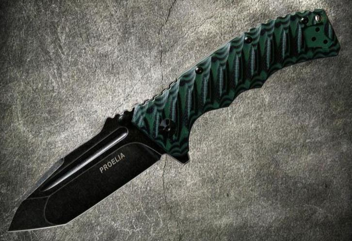 Defcon 010GNB Proelia Tanto Black Stonewash - Green and Black