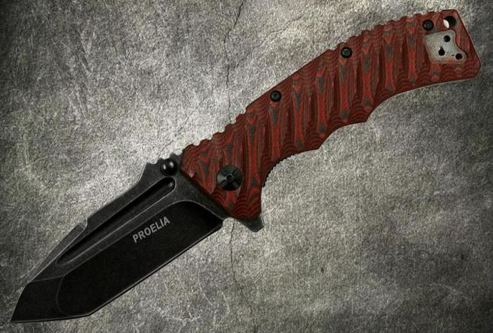 Defcon 010RB Proelia Tanto Black Stonewash - Red and Black