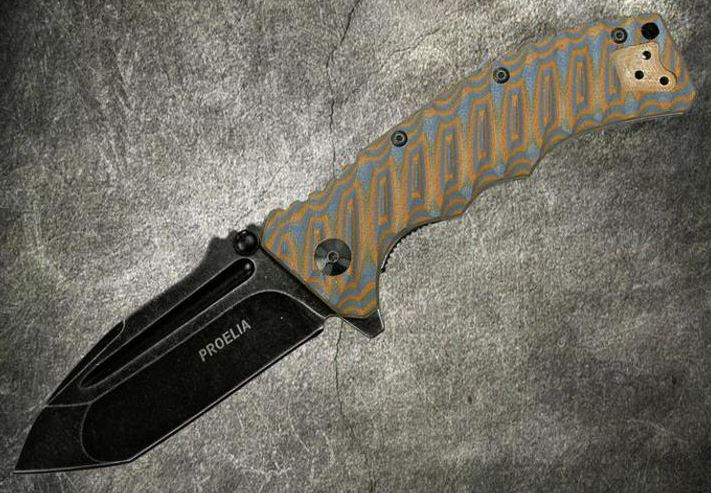 Defcon 010BRB Proelia Tanto Black Stonewash - Orange and Gray