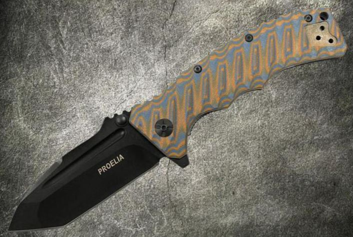 Defcon 010BRBK Proelia Tanto Black - Orange and Gray