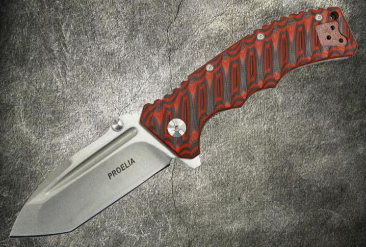 Defcon 010RW Proelia Tanto Stonewash - Red and Black