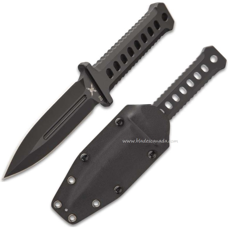 UC M48 Black Combat Dagger,One Piece CNC Machined D2, w/Kydex Sheath, UC3375