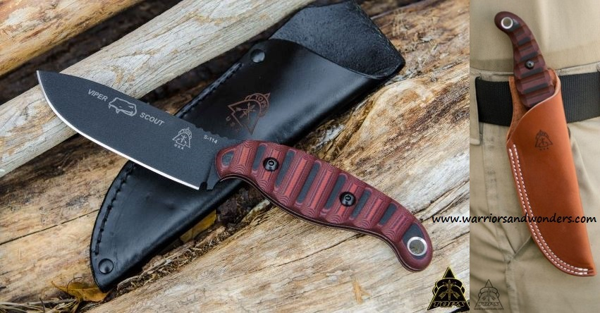 TOPS VPSR2 Viper Scout Red w/Leather Sheath