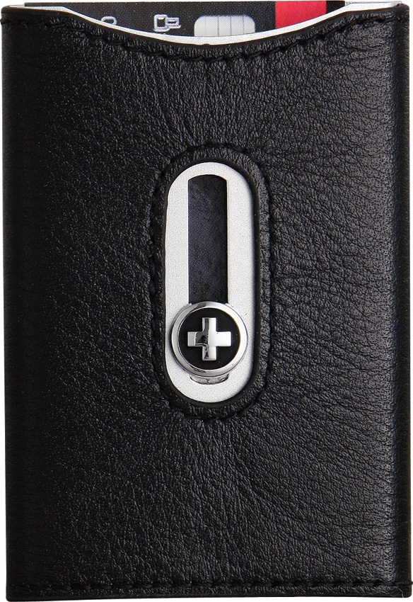 Wagner 751 Swiss Wallet Card Holder - Black Leather
