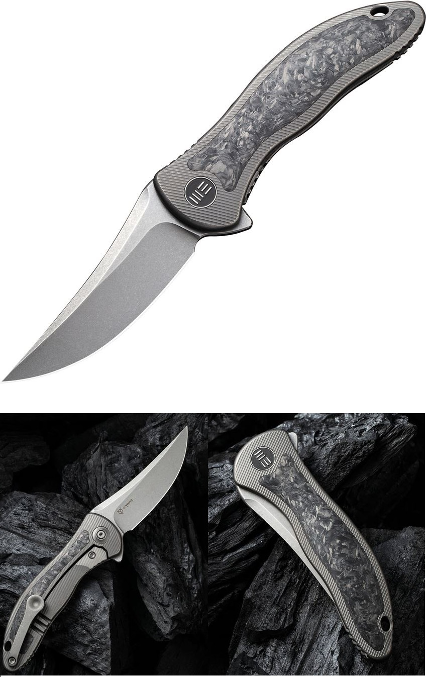 WE Knife Mini Synergy Folder CPM 20CV, Integral Titanium Framelock With Carbon Fiber Inlay WE2011CF-A
