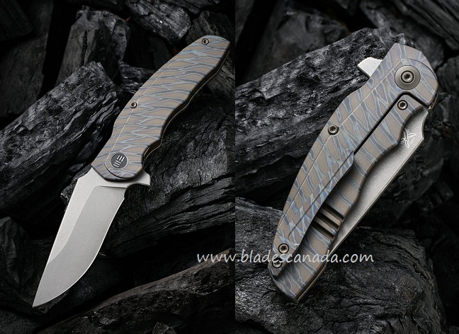 WE Knife Skreech CPM-20CV Titanium Framelock Flipper - Tiger Stripe Flame 2014C