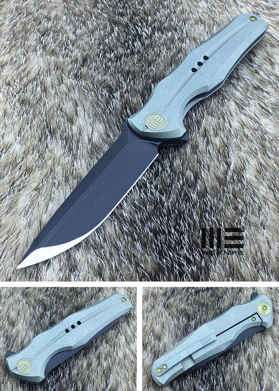 We Knife 601C Matte Black S35VN Titanium Framelock, Green