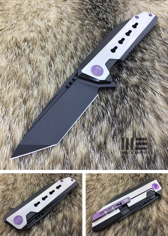 WE Knife 602A Black Stonewash Tanto S35VN Titanium Framelock