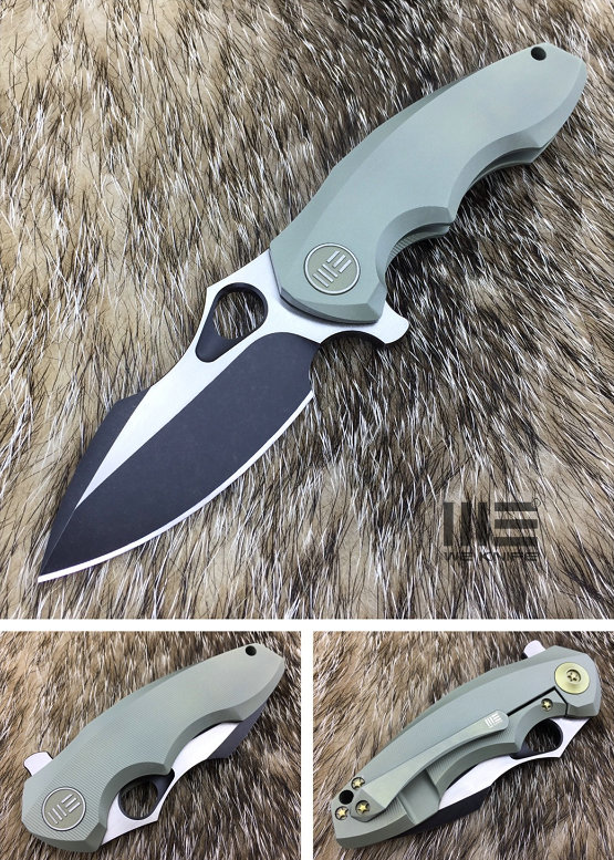 WE Knife 605D Flipper Blackwash S35VN Titanium Framelock- Green