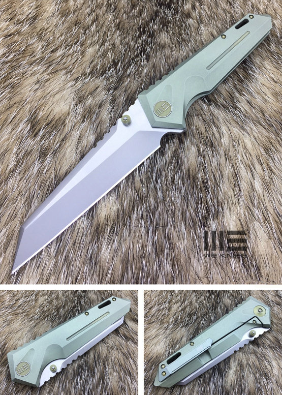 WE Knife 609F Reverse Tanto SW Satin S35VN, Titanium Green