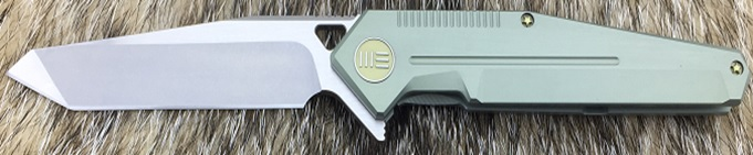 WE Knife 610F Tanto S35VN Satin, Green Titanium Flipper