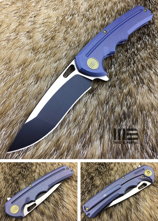 WE Knife 611C Flipper Blue Titanium, Black Satin