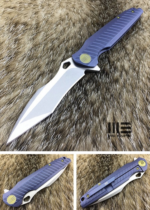 WE Knife 612D Recurve Tanto Flipper Blue Titanium Framelock (Online)