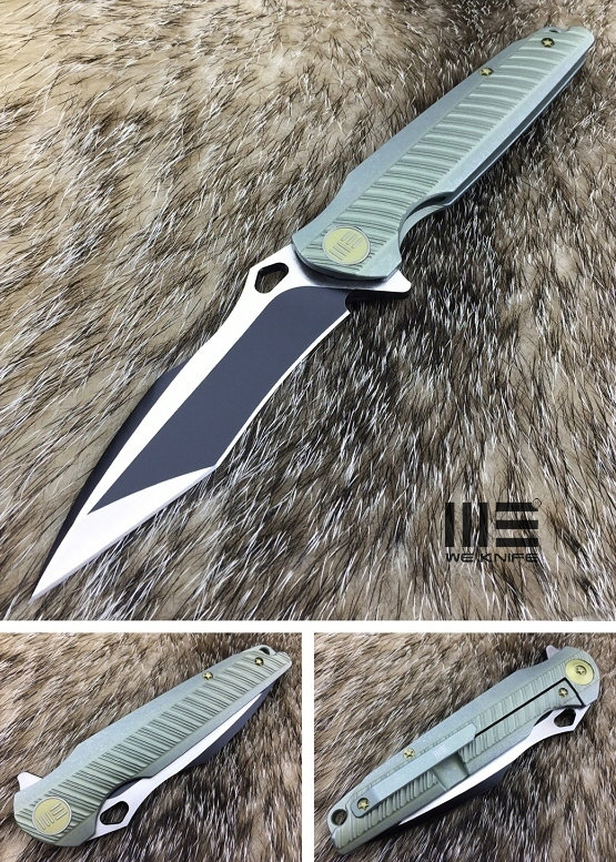 WE Knife 612E Recurve Tanto Flipper Gren Titanium Framelock