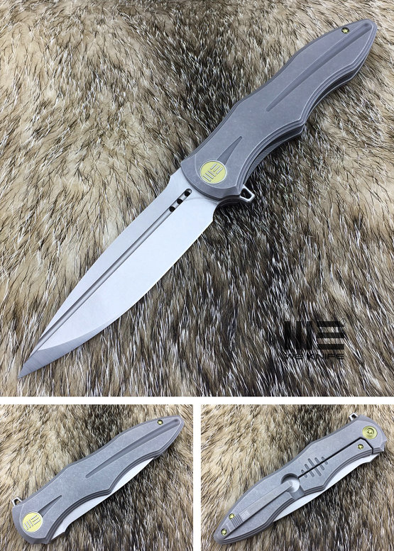 WE Knife 613F Gray Titanium Framelock, M390 Stonewash