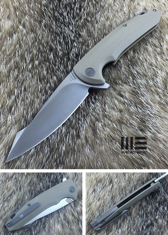 WE Knife 617F Satin D2 Linerlock Flipper, Tan G10 Handle