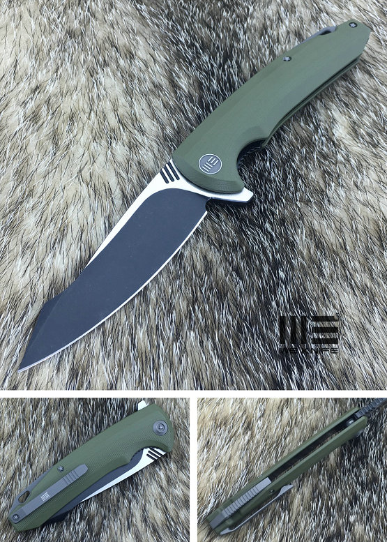 WE Knife 617C Black D2 Linerlock Flipper, Green G10 Handle