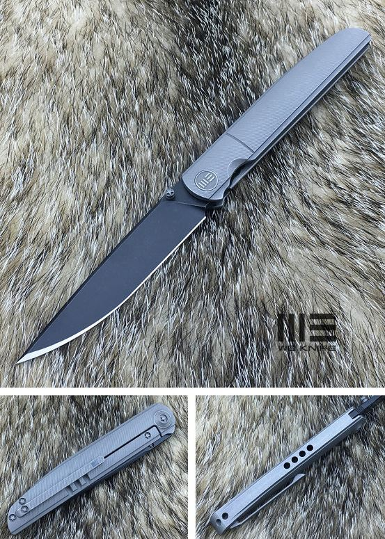 WE Knife 618C Slimline Folder Gray, M390 Black Stonewash