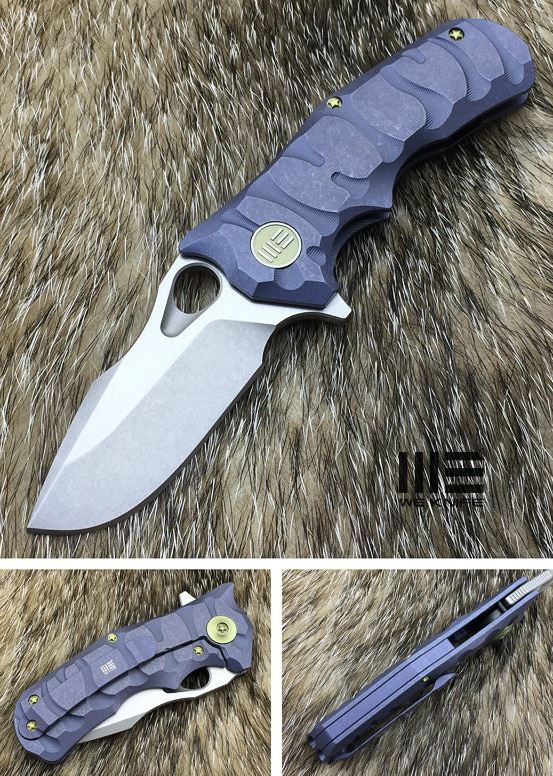 WE Knife 619B Blue Titanium Framelock M390 Stonewash Satin
