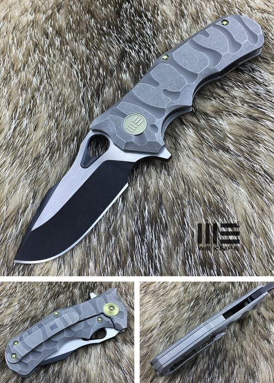 WE Knife 619E Gray Titanium Framelock M390 Black Satin
