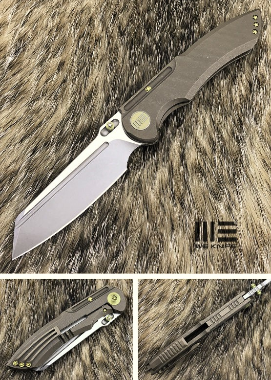 WE Knife 620J Bronzed Titanium Framelock, M390 Stonewash Satin